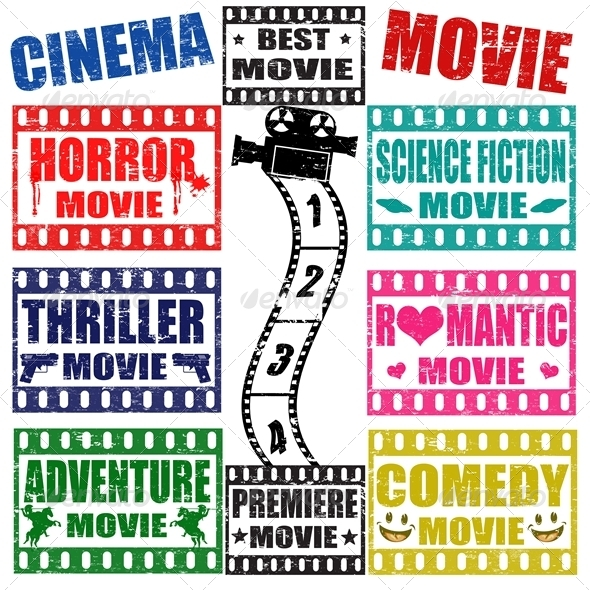Set of Movie Genres Stamps  - Industries Business