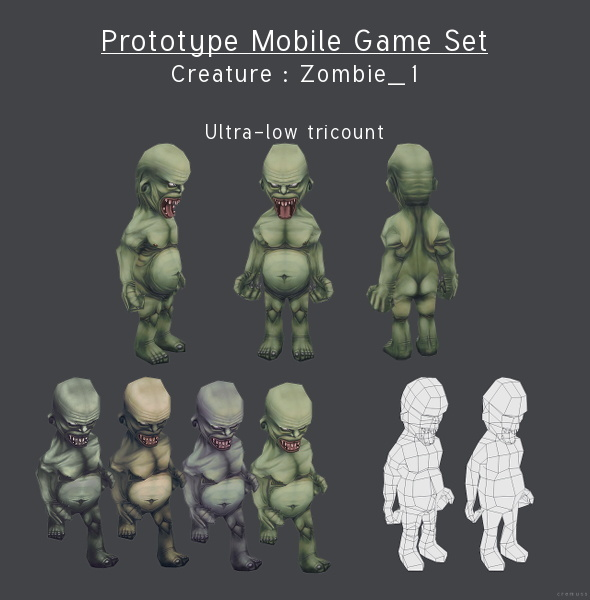 Prototype Mobile Game Set - Creature : Zombie_2 - 3DOcean Item for Sale