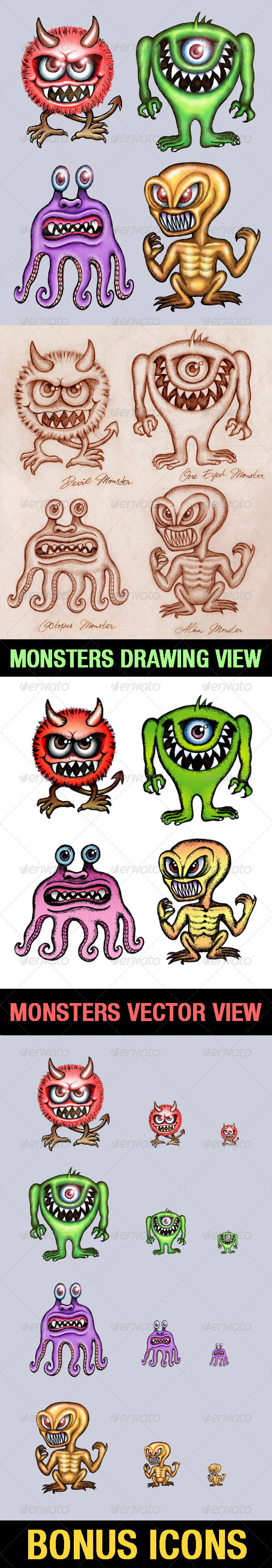 4 Monsters Illustration - Monsters Characters