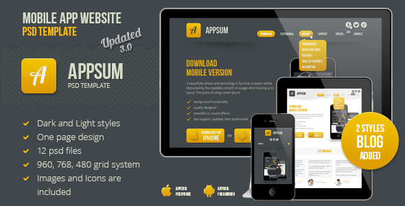 Appsum OnePage Mobile APP PSD Template By Designservice ThemeForest - Mobile app design templates