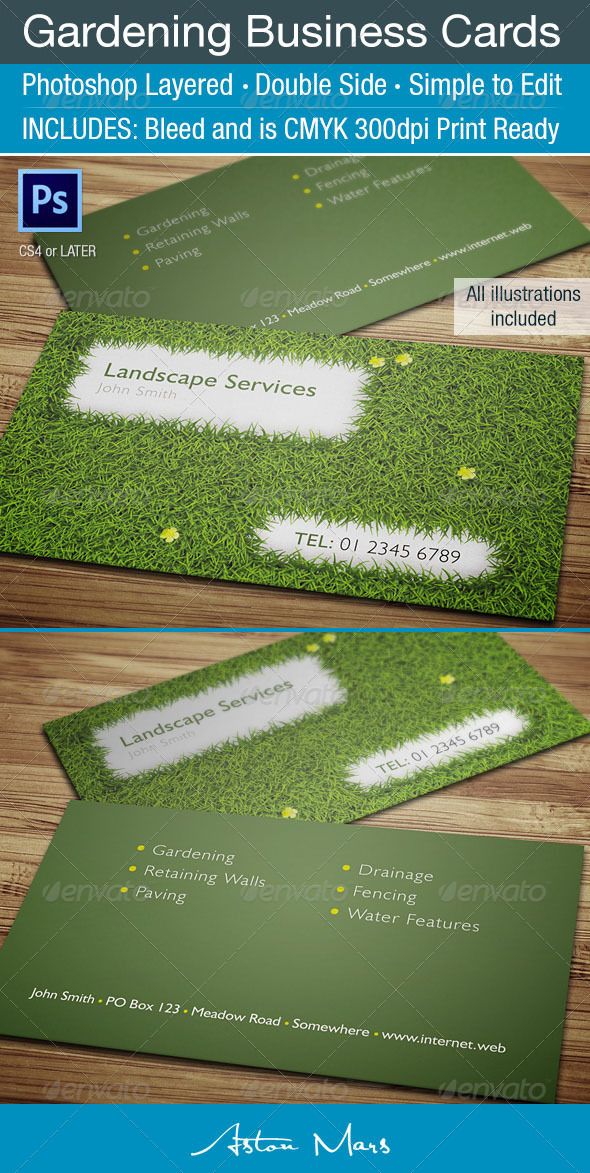 Gardening business card by astonmars graphicriver for Gardening business cards