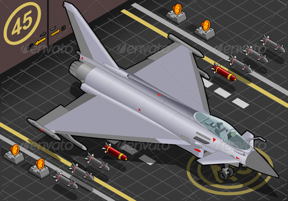 Isometric Eurofighter in Front View - Objects Vectors