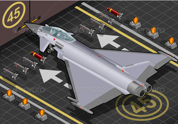 Isometric Eurofighter in Rear View - Objects Vectors