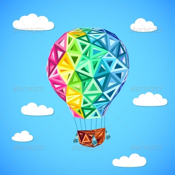 Rainbow Colors Abstract Triangles Flying Balloon - Travel Conceptual