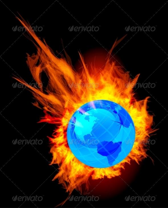 Burning Globe Earth - Travel Conceptual