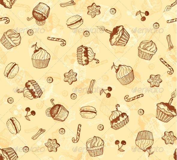 Hand-Drawing Seamless Cupcake Pattern - Birthdays Seasons/Holidays