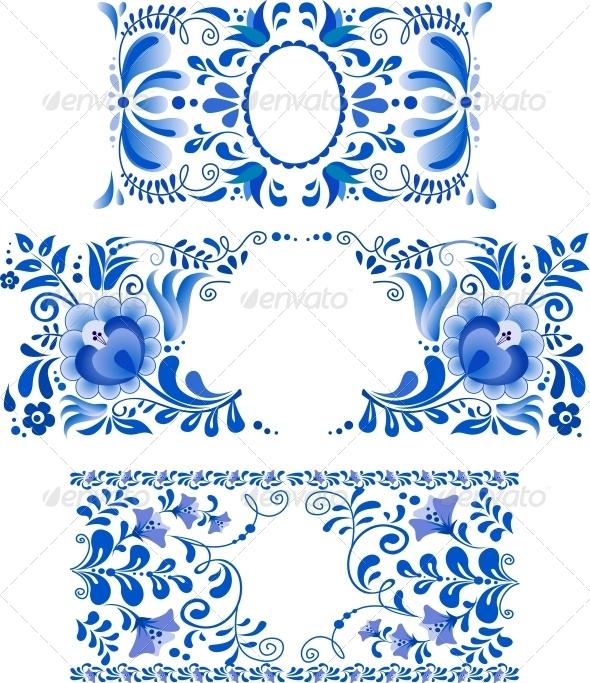 Russian Ornaments Art Frames in Gzhel Style - Flowers & Plants Nature