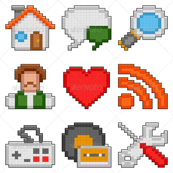 Pixel Web Icons - Web Technology