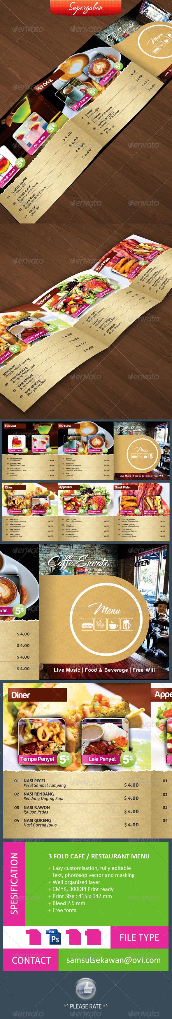 3 Fold Square Cafe Restaurant Menu - Food Menus Print Templates