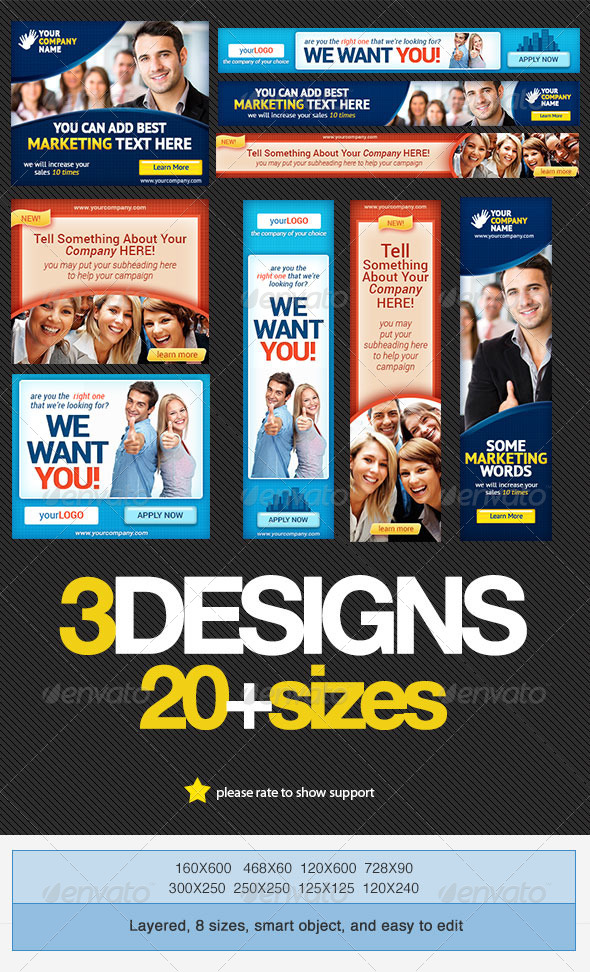 Corporate Banner Set Bundle 2.0 - Banners & Ads Web Elements