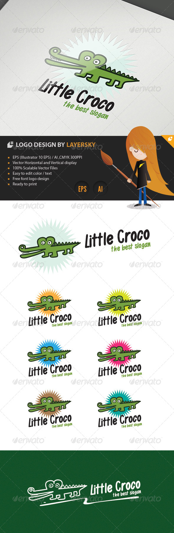 Little Croco Logo - Animals Logo Templates