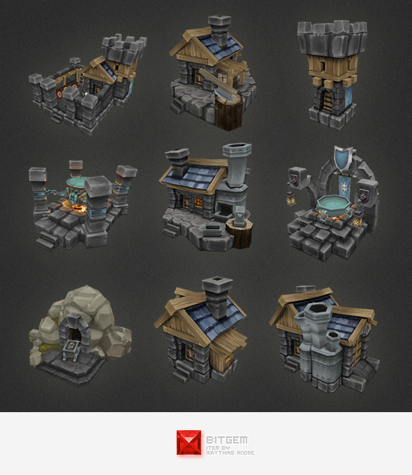 Low Poly RTS Human Building Set - 3DOcean Item for Sale