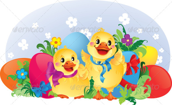 Easter Illustration with Ducklings. - Animals Characters