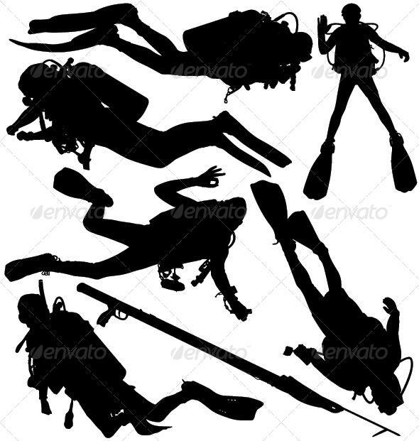 Scuba Diver and Speargun Vector Silhouettes - Sports/Activity Conceptual