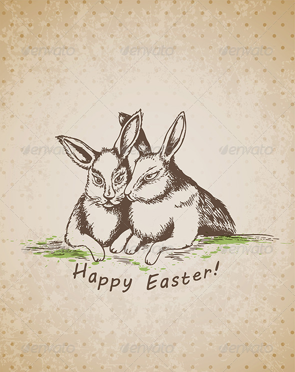 Easter Background with Rabbits - Miscellaneous Seasons/Holidays