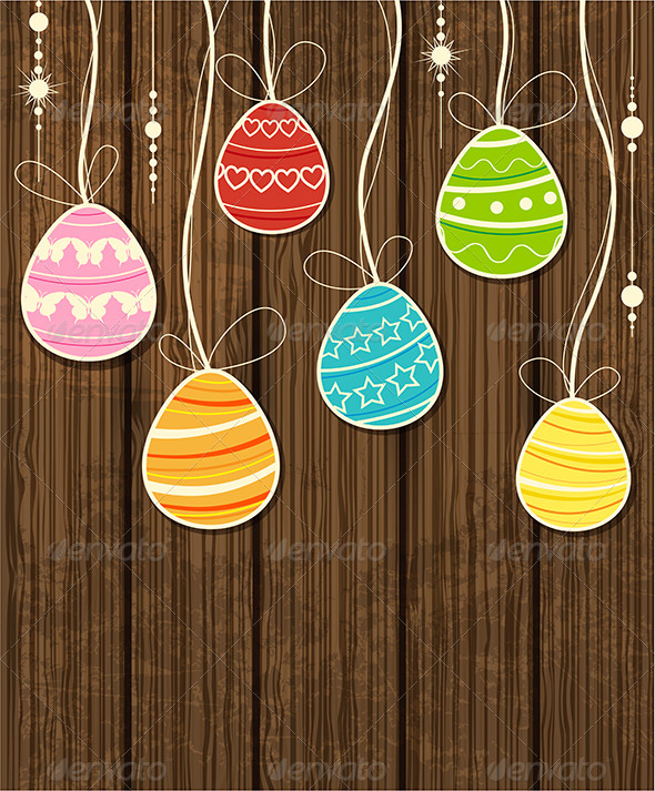 Wooden Easter Background - Miscellaneous Seasons/Holidays
