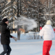 Happy Couple Throwing Snowballs - VideoHive Item for Sale