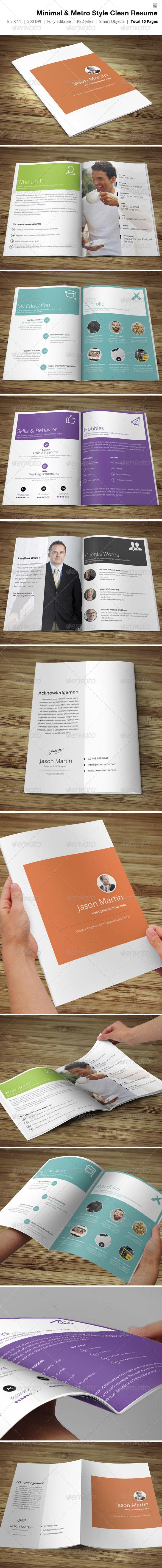 Minimal & Metro Style Resume  - Resumes Stationery