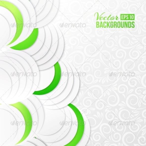 Abstract Green Paper Circles. - Abstract Conceptual