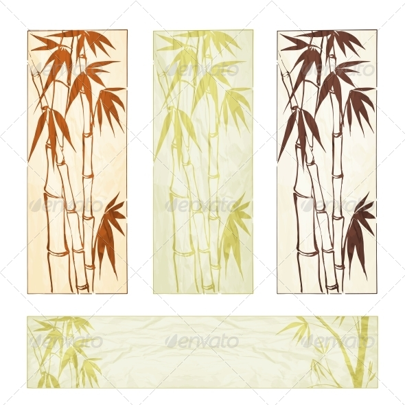 Bamboo Banner Set - Flowers & Plants Nature