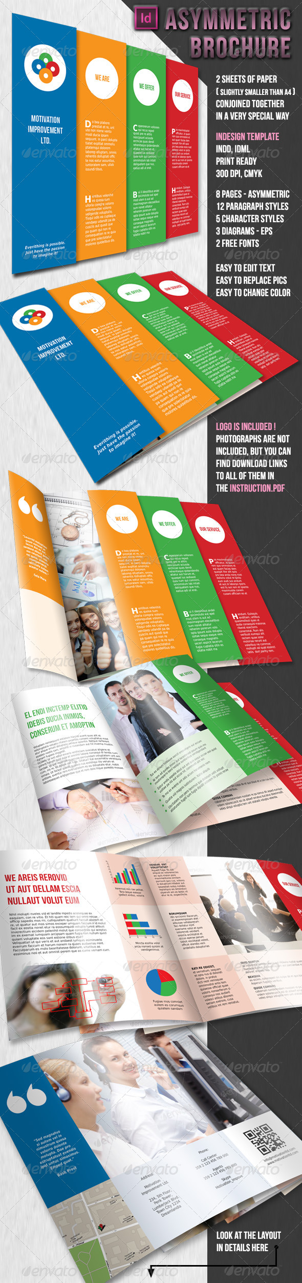 Asymmetric brochure 2 x a4 8 pages by lumberjackbg for One sided brochure template