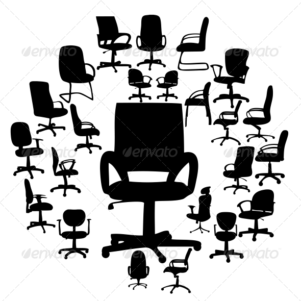 Office Chairs Silhouettes Vector Illustration - Miscellaneous Vectors