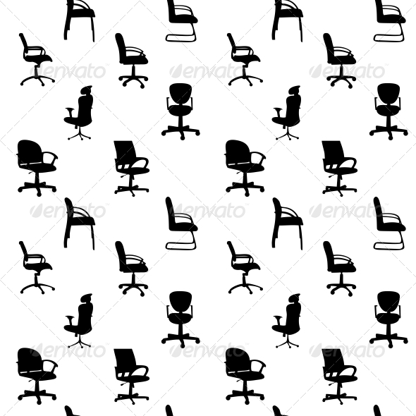 Seamless Pattern of Office Chairs Silhouettes - Miscellaneous Vectors