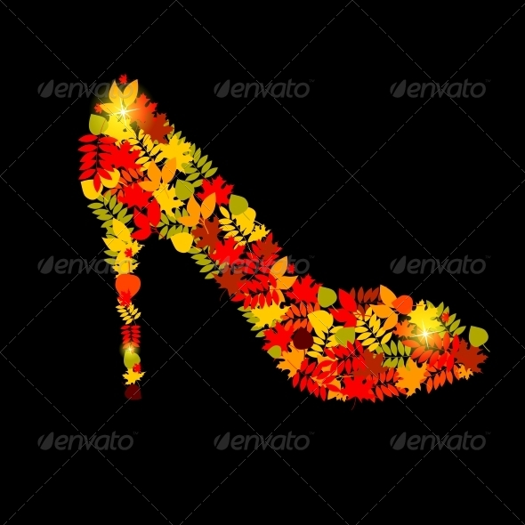 Vector Illustration of Shoes from Autumn Leaves - Seasons Nature