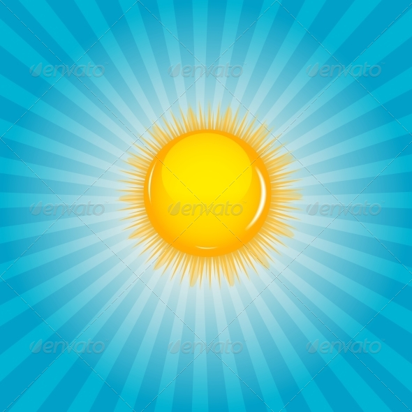 Sun and Cloud Background Vector Illustration - Seasons Nature