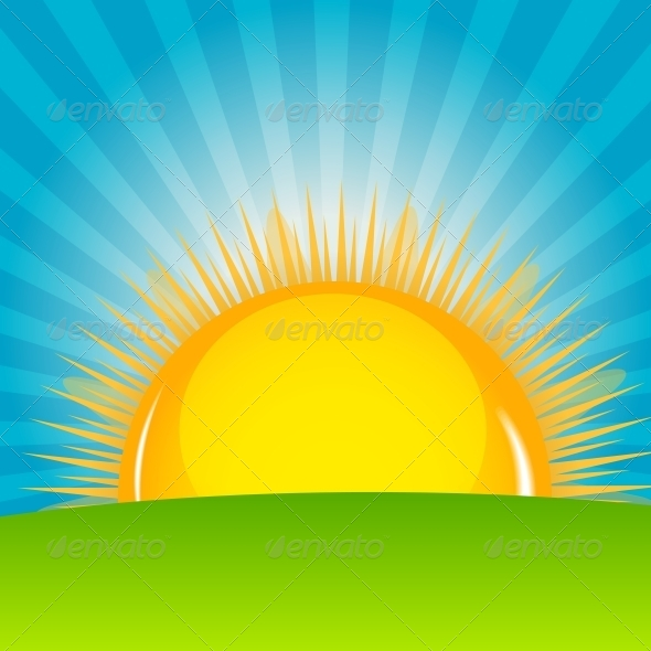 Cloud and Sunny Background Vector Illustration - Seasons Nature