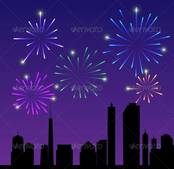 Fireworks City Vector Illustration - Buildings Objects