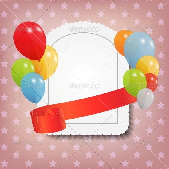 Birthday Card with Colored Balloons - Miscellaneous Vectors