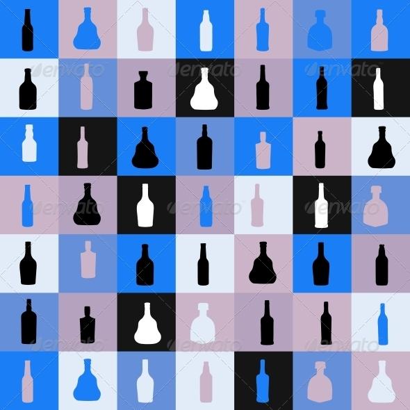 Seamless Pattern Silhouette Alcohol Bottle - Miscellaneous Vectors