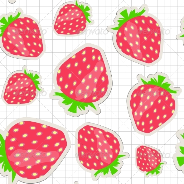 Seamless Pattern with Strawberry. - Miscellaneous Vectors