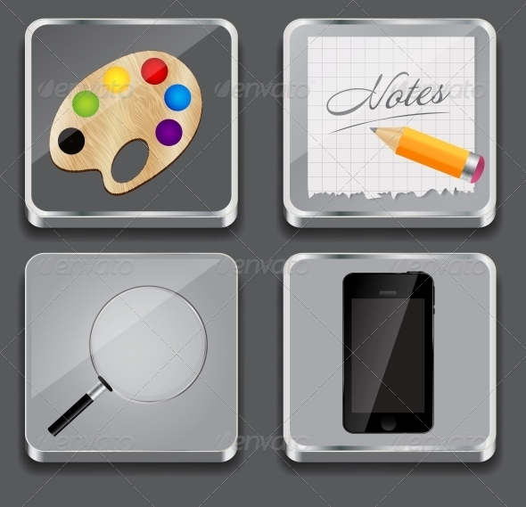 Vector Illustration of Apps Icon Set - Backgrounds Decorative
