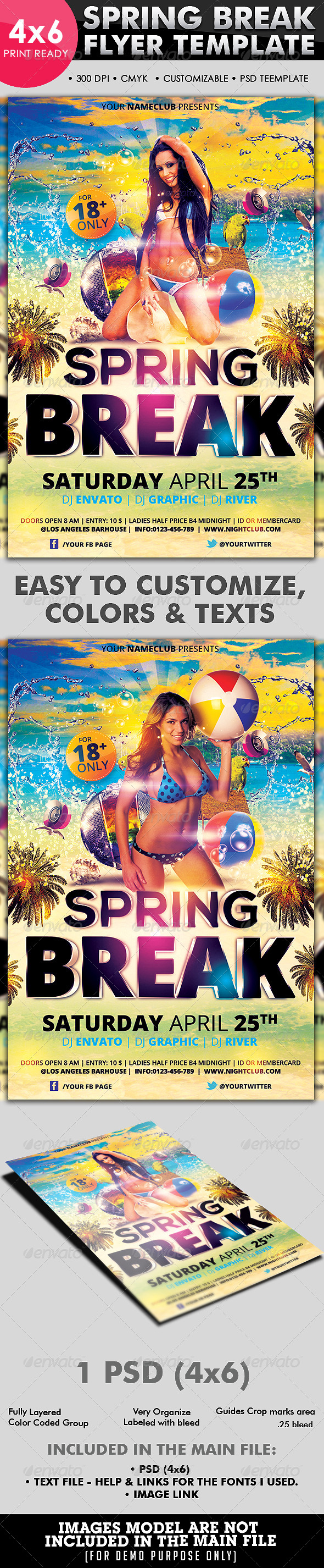 Spring Break Flyer Template - Flyers Print Templates