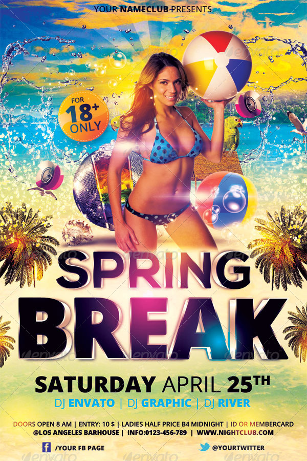 Spring Break Flyer Template By Hermz  Graphicriver