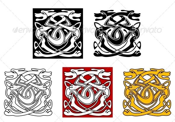 Dogs Ornamental Pattern in Celtic Style - Decorative Symbols Decorative