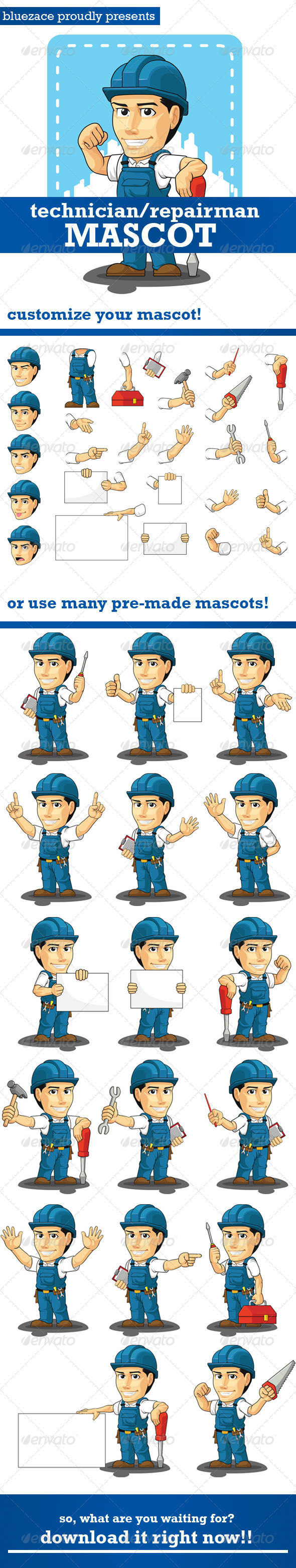Technician or Repairman Customizable Mascot - People Characters