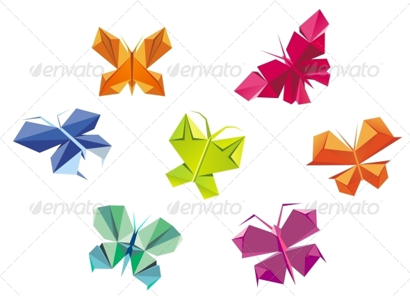 Origami Butterflies - Decorative Symbols Decorative