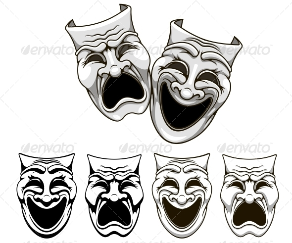 Tragedy and Comedy Theater Masks - Miscellaneous Characters