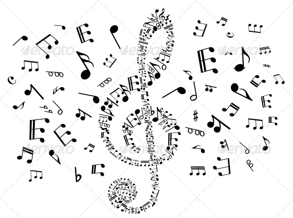 Musical Clef with Notes - Backgrounds Decorative