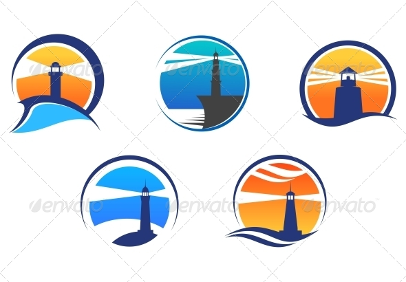 Colorful Lighthouse Symbols Set - Buildings Objects