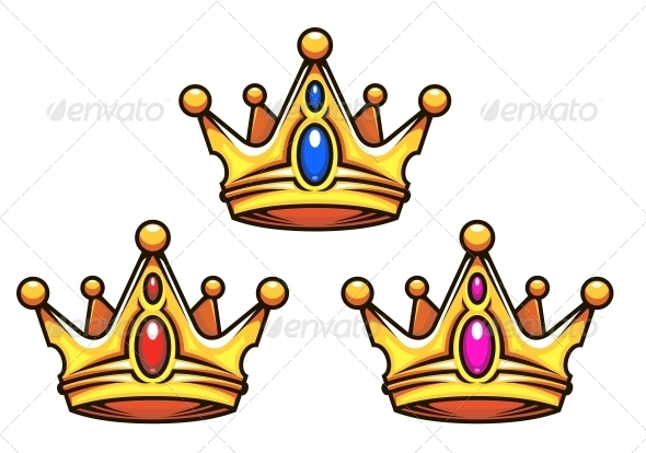 Golden Royal Crowns with Jewelry Elements - Decorative Symbols Decorative