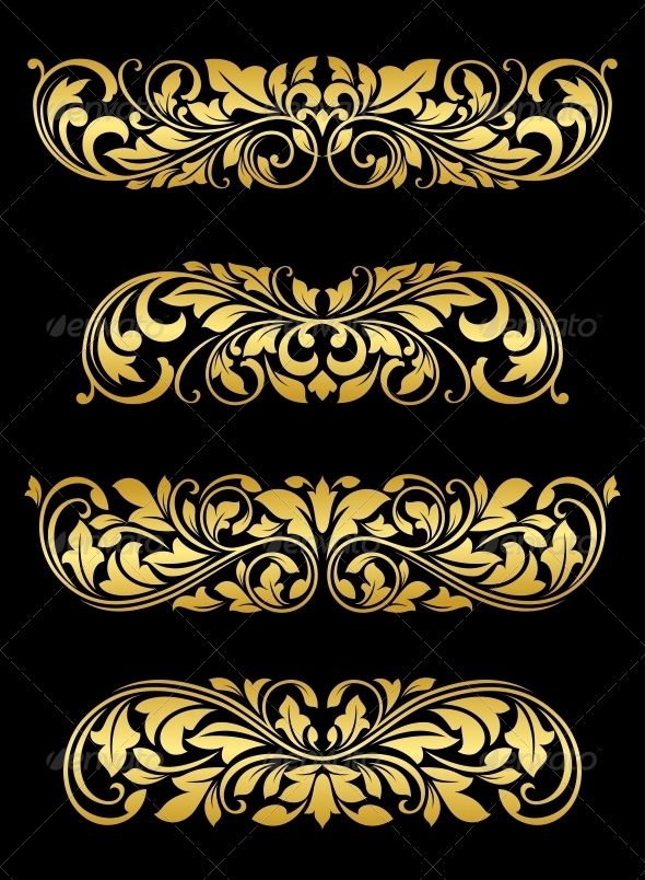 Golden Floral Elements and Embellishments - Flourishes / Swirls Decorative