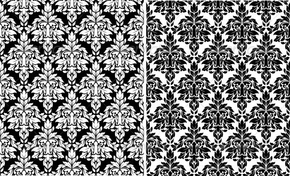 Floral Damask Seamless Patterns - Patterns Decorative