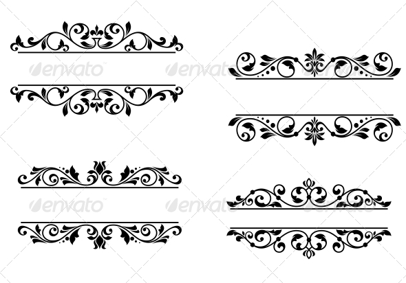 Header Frame with Retro Floral Elements - Borders Decorative