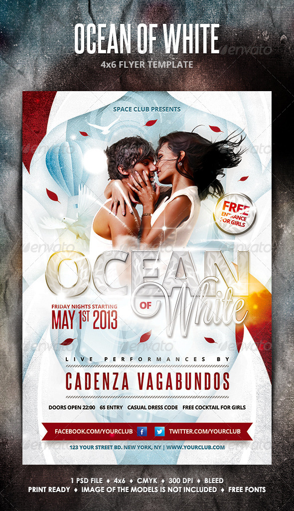 Ocean of White Party Flyer - Clubs & Parties Events