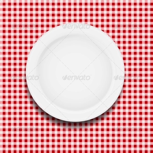 White Plate on a Checkered Tablecloth - Miscellaneous Vectors