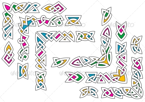 Celtic Ornaments with Color - Borders Decorative